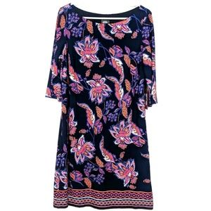Vince Camuto Retro Floral 3/4 Sleeves Shift Dress